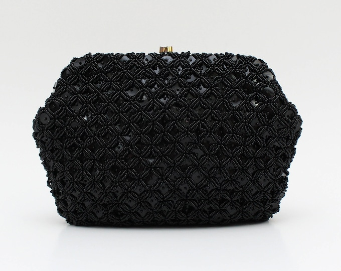 Black Beaded Sequin Clutch - Vintage 1960s Black Cocktail Handbag