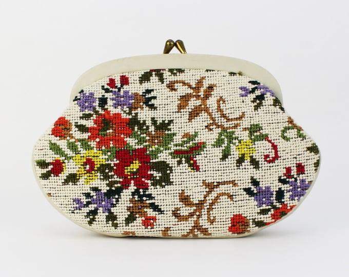 Floral Needlepoint Handbag - Vintage 1960s Tapestry Clutch - Floral Purse