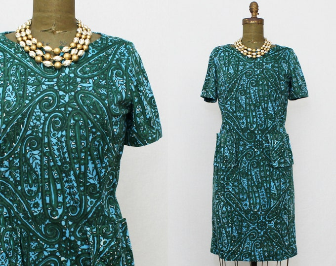 50s Green Printed Day Dress - Vintage 1950s Casual Front Pocket Dress - Young Viewpoint New York