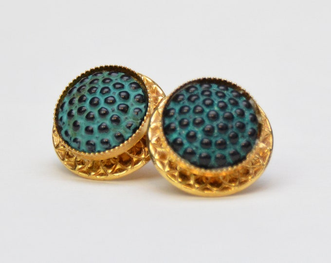 Vintage 1970s Teal Textured Clip Earrings