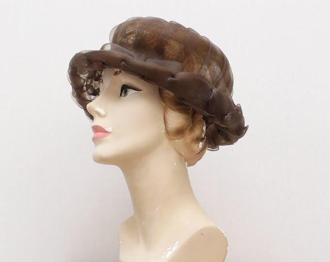 Vintage 1950s Mocha Woven Bumper Hat
