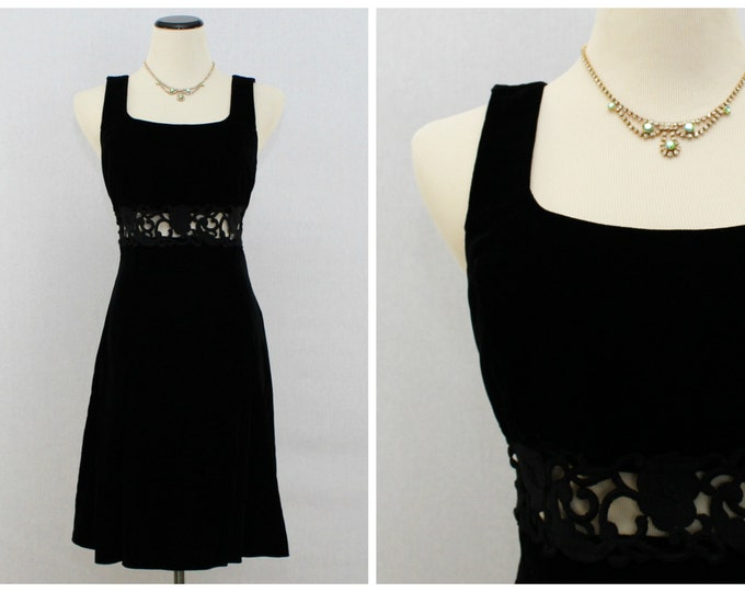 Black Velvet Dress - Gunne Sax Jessica McClintock Black Cocktail Dress - Little Black Dress - Vintage 1980s Velvet Cut Out Dress