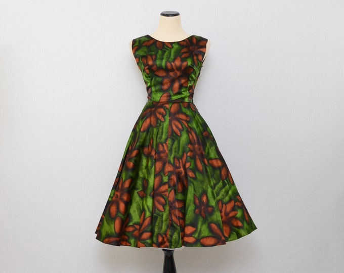 Vintage 1960s Green Floral Satin Party Dress - Size Small