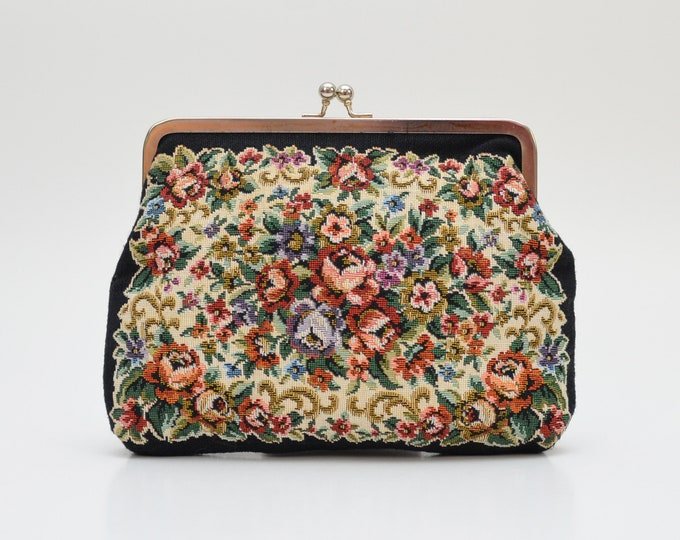 Vintage 1950s Floral Tapestry Clutch Made in Hong Kong