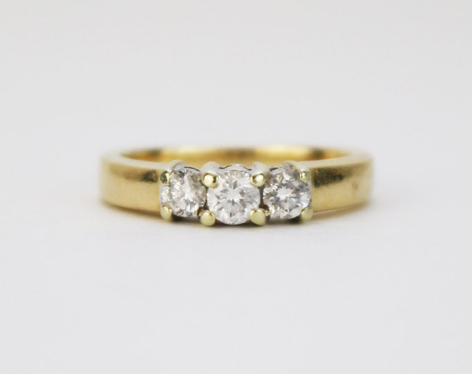 Diamond Engagement Ring - Size 6 Wedding Ring - Vintage 1960s 14K Gold Trinity Diamond Ring