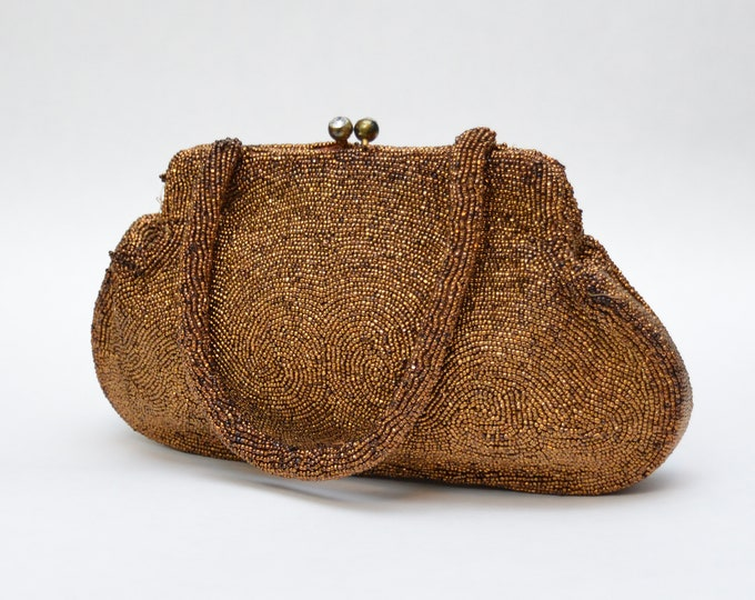 Vintage 1950s Copper Beaded Evening Bag by Walborg