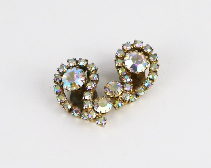 Continental Rhinestone Earrings - Bridal Earrings - Vintage 1960s Aurora Borealis Rhinestone Clip Ons