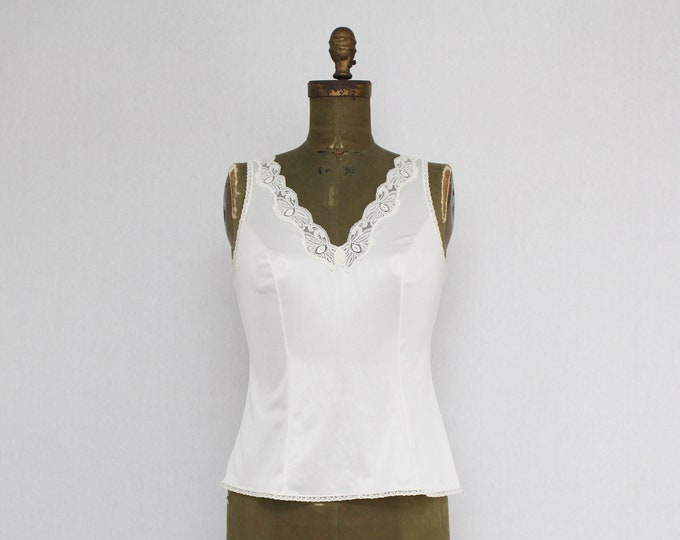 Vintage 1980s Lace Trim Camisole - Size 36
