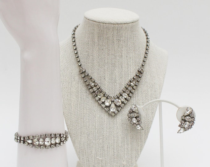 Rhinestone Jewelry Set - Necklace Bracelet and Earrings - Vintage 1950s White Rhinestone Wedding Set