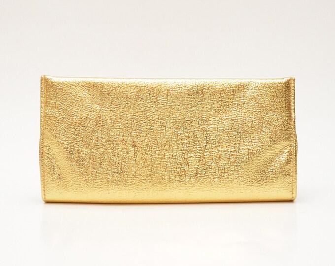 Vintage Metallic Gold Vegan Leather Clutch - 1960s