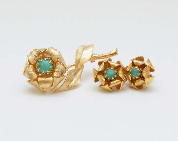 Vintage 1960s Gold Flower Brooch and Earrings Set