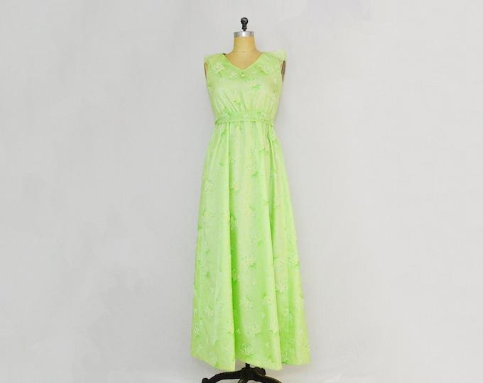 Vintage 1960s Green Daisy Print Maxi Dress - Size Small