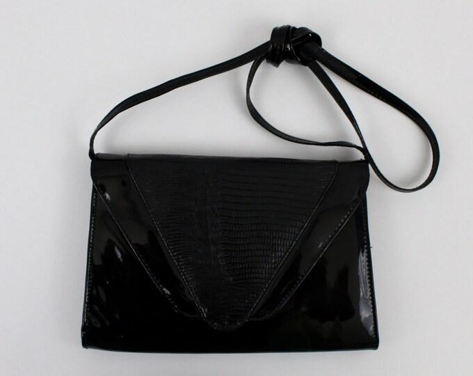Vintage 1980s Black Patent Leather Purse