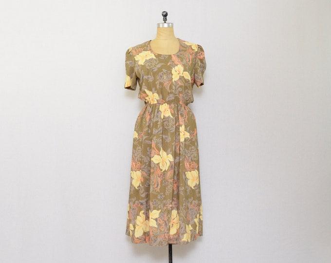 Vintage 1970s Mocha Floral Dress - Size Medium