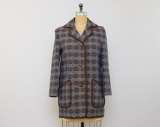 Vintage 1960s Welsh Wool Tapestry Coat - Size Small