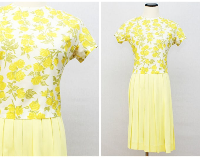 Yellow Two Piece Dress - Yellow Rose Print Pleated Skirt Dress- Vintage 1960s Secretary Dress - Size Extra Small