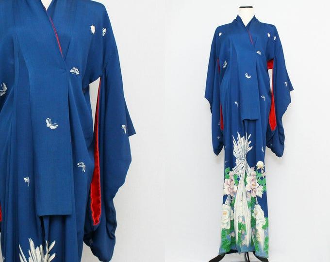 Vintage 1930s Blue Floral Kimono Dressing Gown
