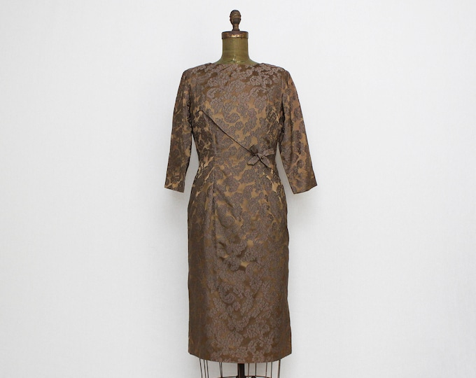 Vintage 1950s Mocha Jacquard Lace Cocktail Dress - Size Small