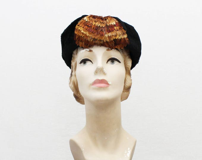 Vintage 1960s Betmar Black Fur Pheasant Feather Hat