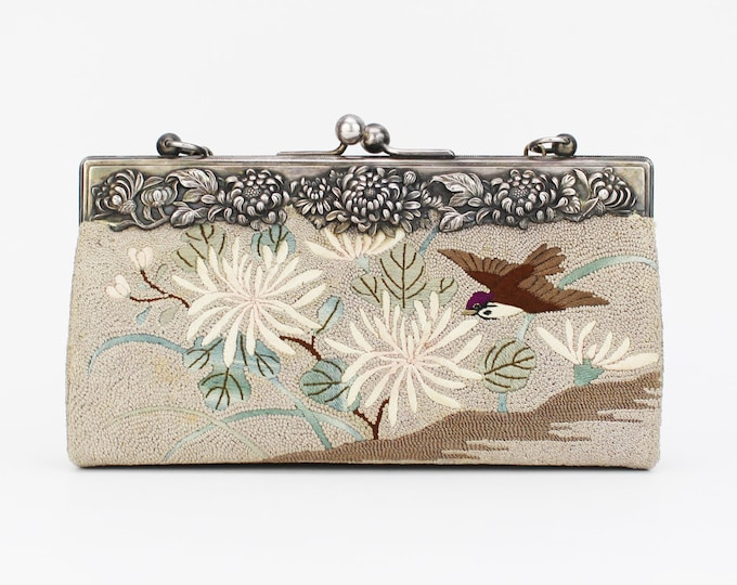 Antique 1910s Floral Tapestry Handbag