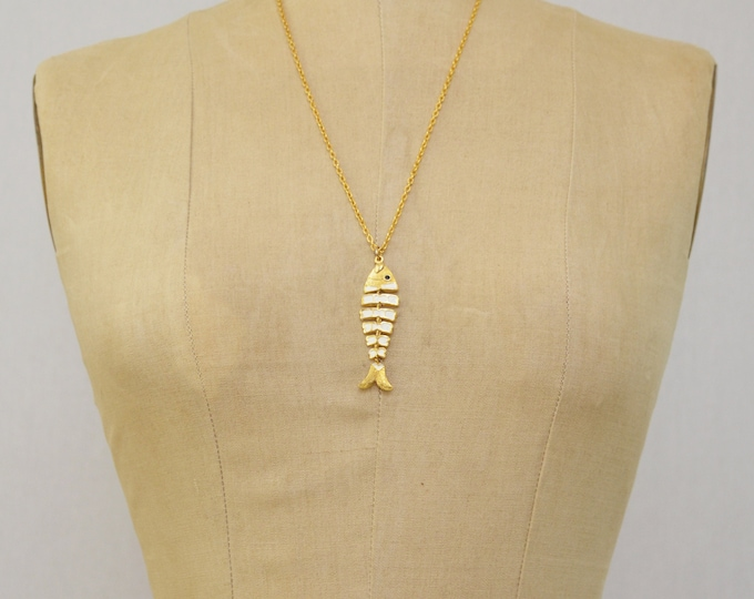 Vintage Enamel Fish Bone Necklace - 1970s