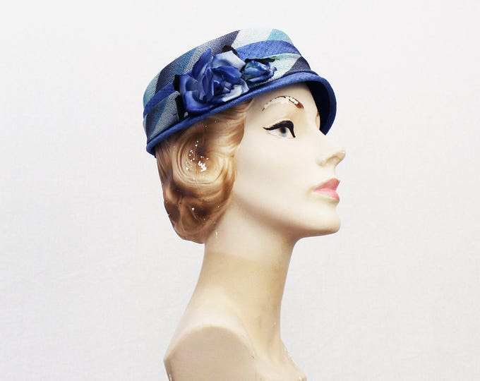 30s Blue Cloche Hat - Vintage 1930s Woven Straw Floral Hat - Women's Sun Hat