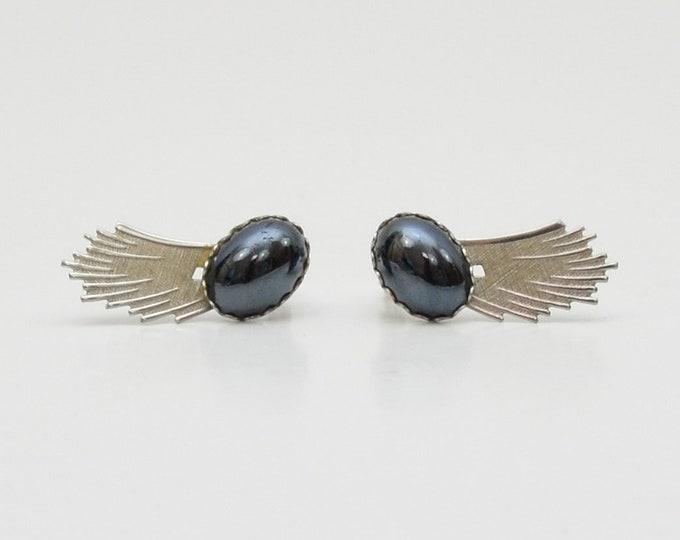 Vintage 1960s Silver Hematite Earrings