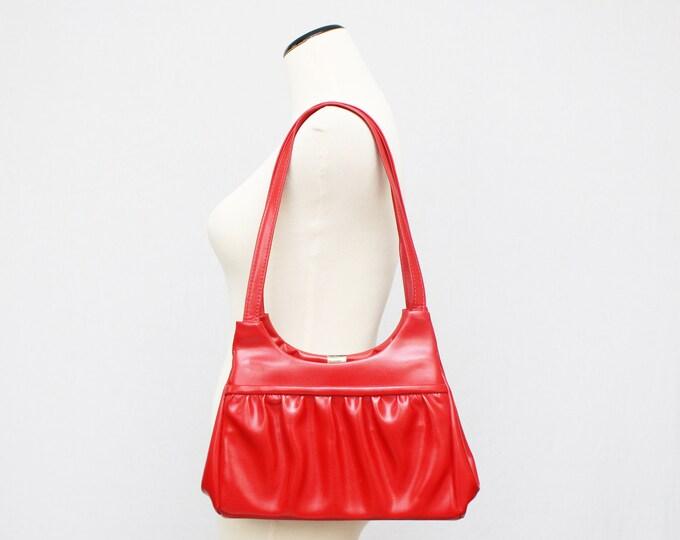 60s Red Handbag - Mod Lipstick Red Shoulder Bag - Vintage 1960s Red Vinyl Purse