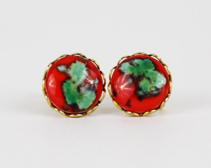 Vintage 1950s Red and Turquoise Button Earrings