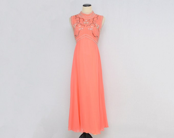 Vintage 1970s Coral Chiffon Beaded Dress - Size Large