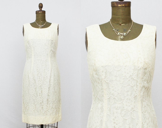 Pale Yellow Lace Dress - Short Lace Wedding Dress - Vintage 1960s Almost Ivory Lace Cocktail Dress