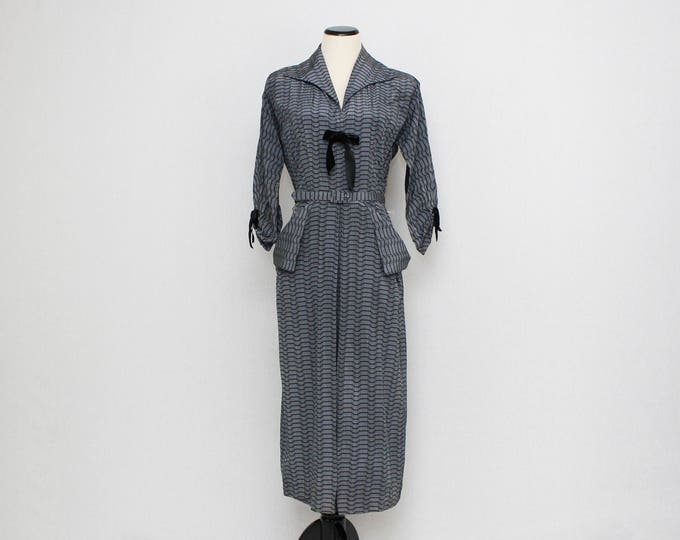 Vintage 1940s Black Geometric Printed Dress - Size Medium