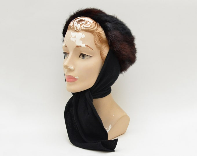 Vintage Chocolate Mink Bonnet Hat - 1940s