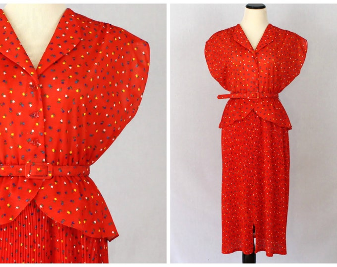 Vintage 1970s Red Peplum Dress - Size Medium