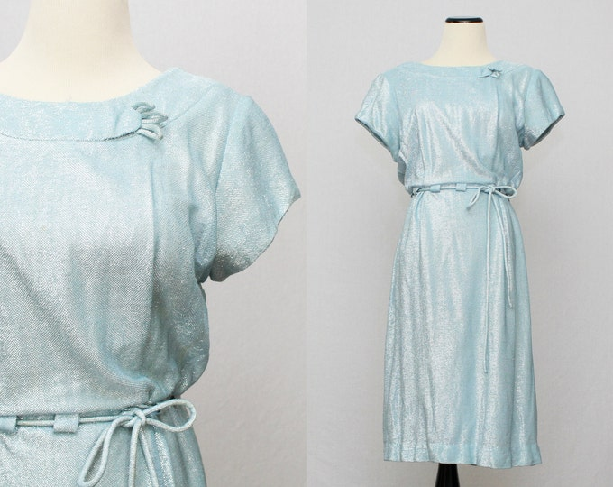Pale Blue Metallic Dress - Vintage 1960s Sky Blue Day Dress by Mary Roberts New York