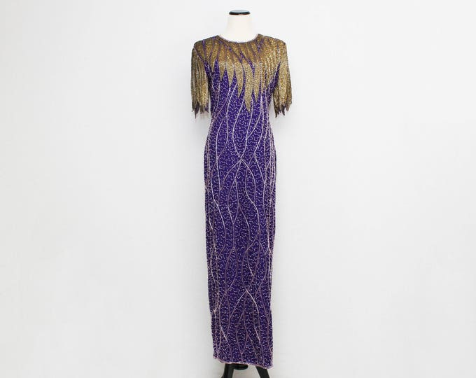Vintage 1980s Purple and Gold Beaded Pageant Dress - Size Medium