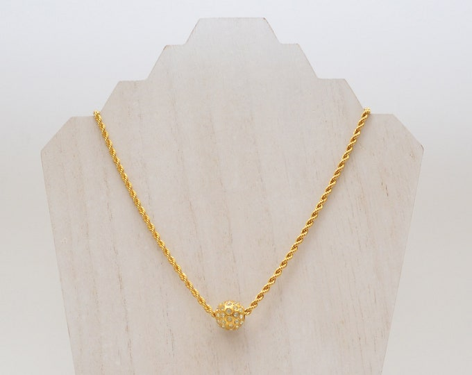 Vintage Gold Rhinestone Ball Rope Necklace - 1980s
