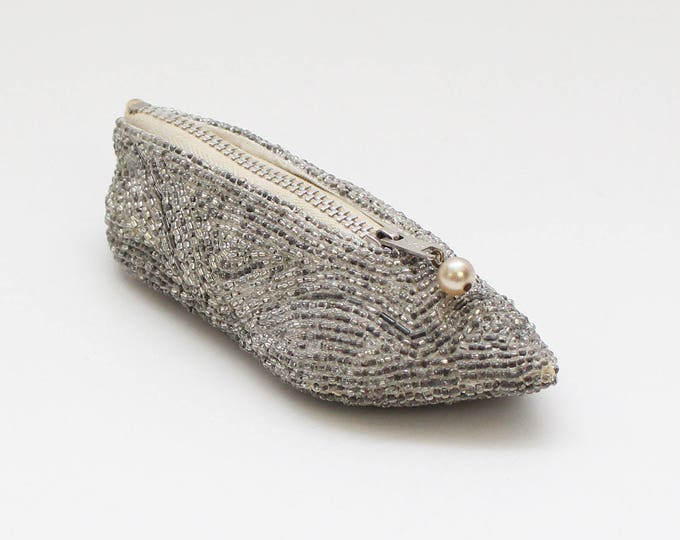 Vintage 1950s Silver Beaded Slipper Coin Purse