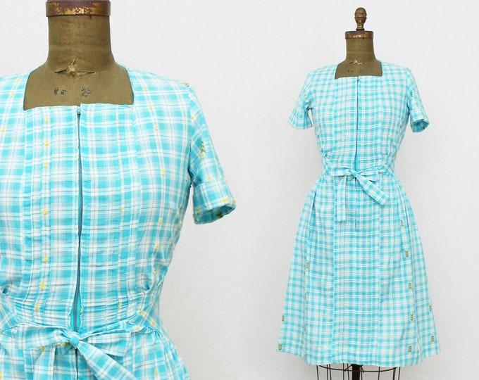 60s Blue Plaid Cotton Day Dress - Size Small Vintage 1960s Montgomery Ward Embroidered Casual Fit and Flare Prairie Dress