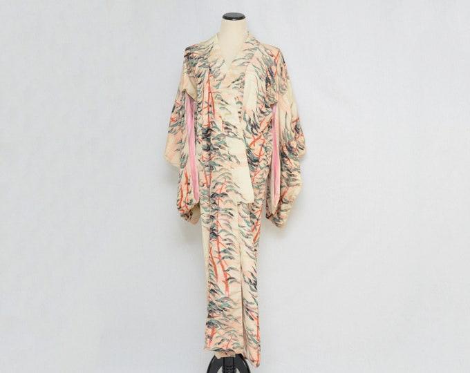 Vintage 1950s Peach and Teal Kimono Robe
