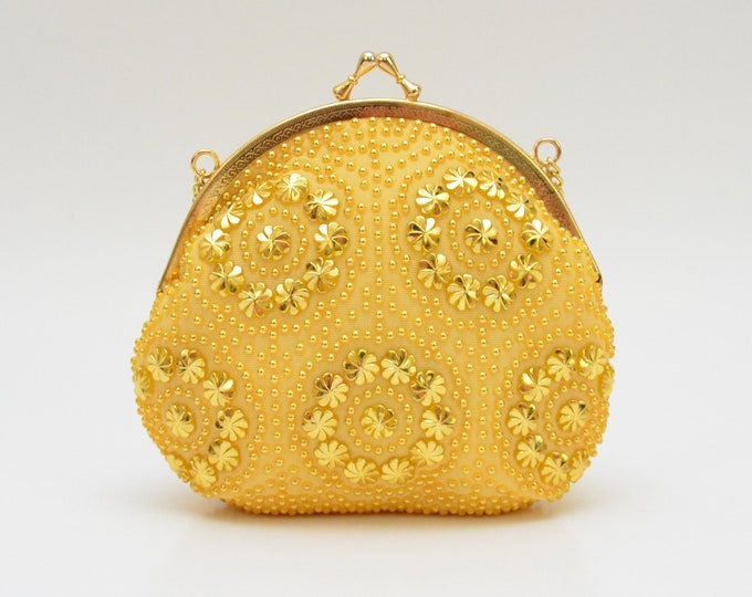 Vintage 1970s Gold Beaded Handbag