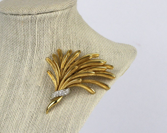 Gold Rhinestone Modernist Brooch - 70s Gold Pin Signed Boucher - Vintage 1970s Marcel Boucher Brooch 9183P