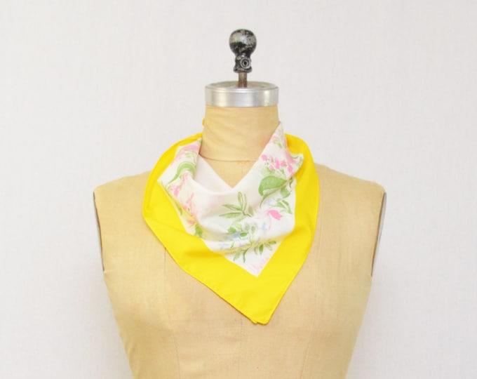 Vintage 1970s Yellow Floral Vera Neumann Scarf