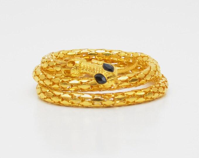 Vintage Gold Snake Bracelet - 1970s