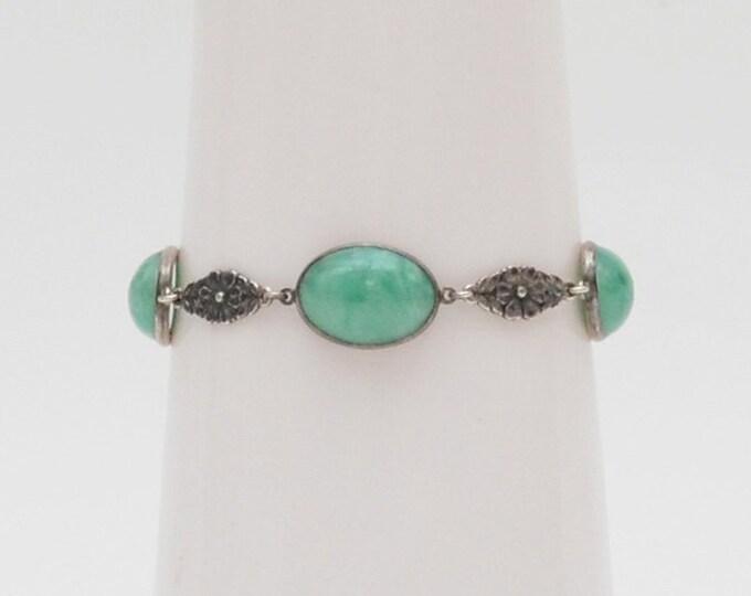 Antique Sterling Silver Jadeite Bracelet
