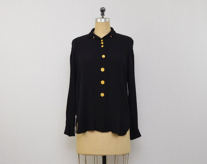 Vintage Black Clockwork Button Down Blouse - Size Medium 1980s