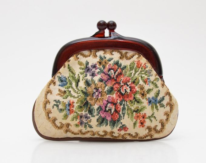 Vintage 1950s Floral Tapestry Coin Purse