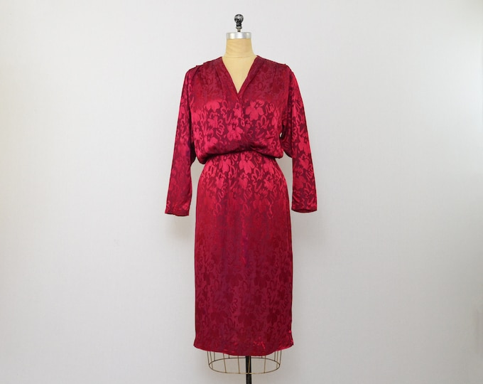 Vintage Cherry Red Jacquard Dress - Size Medium - 1970s
