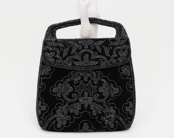 Antique French Beaded Handbag - Vintage 1930s Black Velvet Beaded Evening Bag