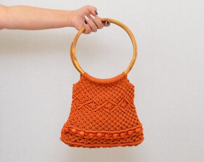 Vintage 1960s Orange Crochet Boho Tote Bag